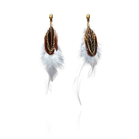 Bohemian Long Feather Clip-On Earrings - Grey