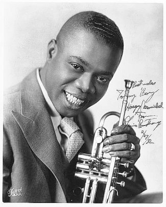 Famous Jazz Musicians Louis Armstrong transforms a white