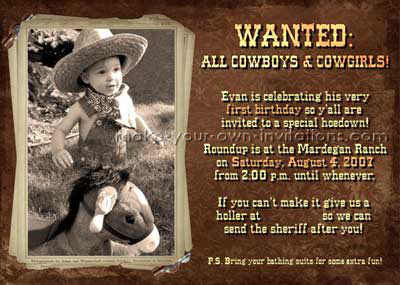 Cow And Cowboy Invitations Make Western Party Invitation Ideas