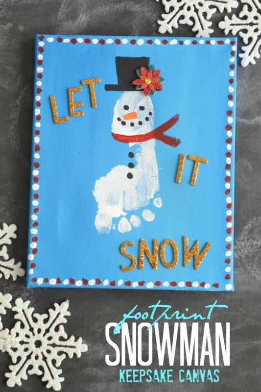 footprint snowman keepsake canvas