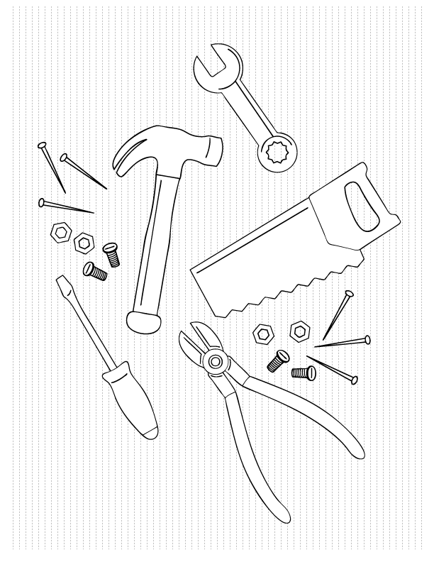 Coloring Pages Hand Tools