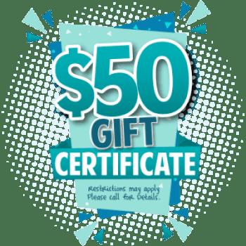 $50 Gift Certificate Graphic For El Dorado Hills Kids Dentist