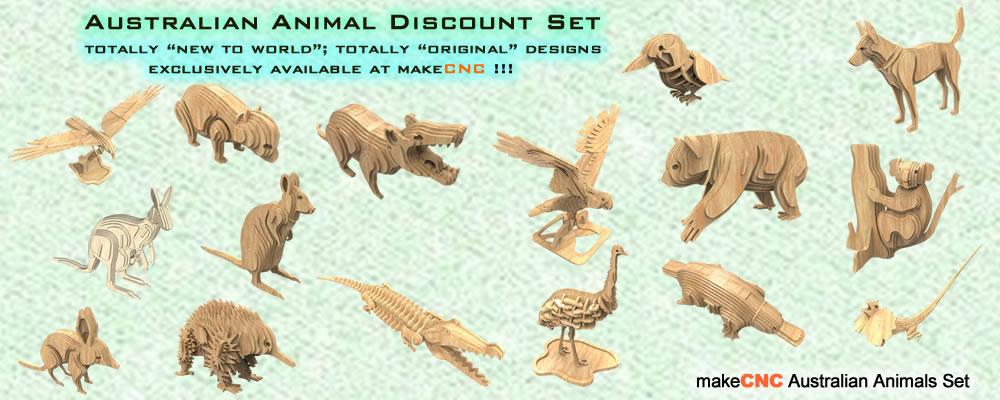 Australian Animals Volume One  makeCNC Volume Packs