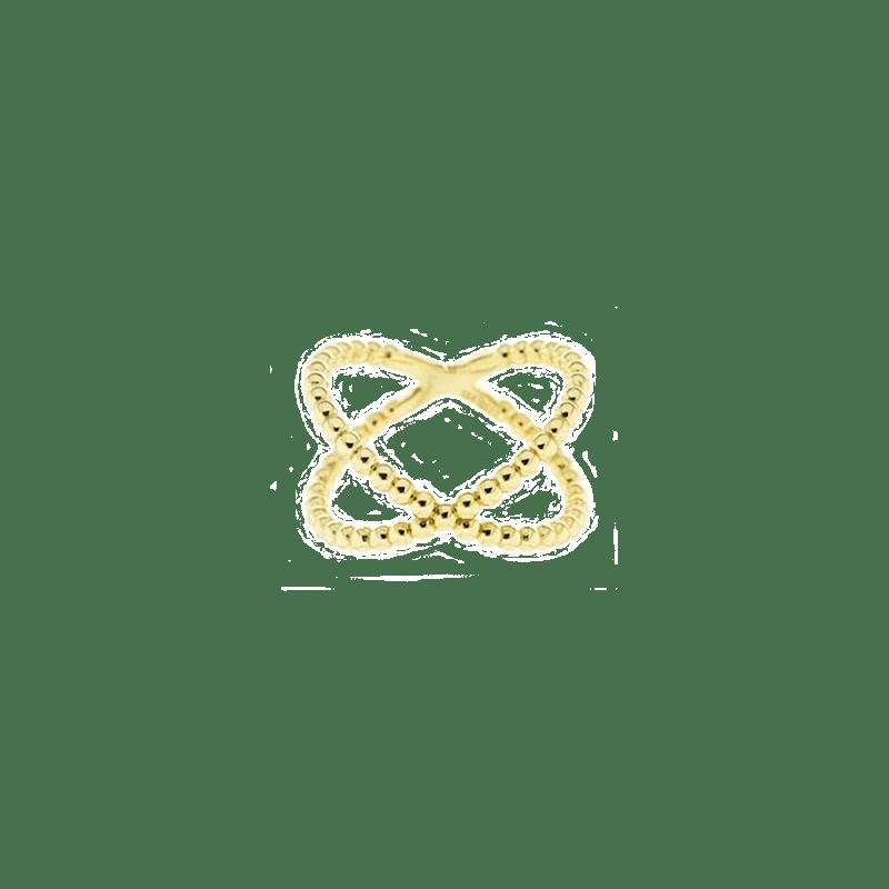 Sortija de diseño cruzado y bolitas en plata bañada en oro