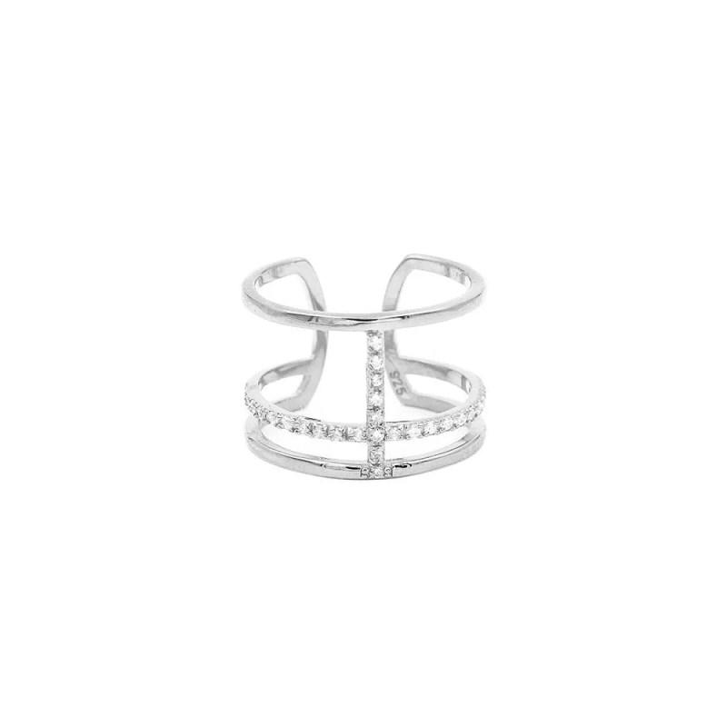 anillo con cristales ajustable en plata de ley