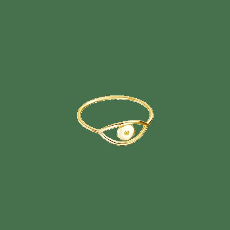 Sortija finita con ojo turco en plata bañada en oro 18k