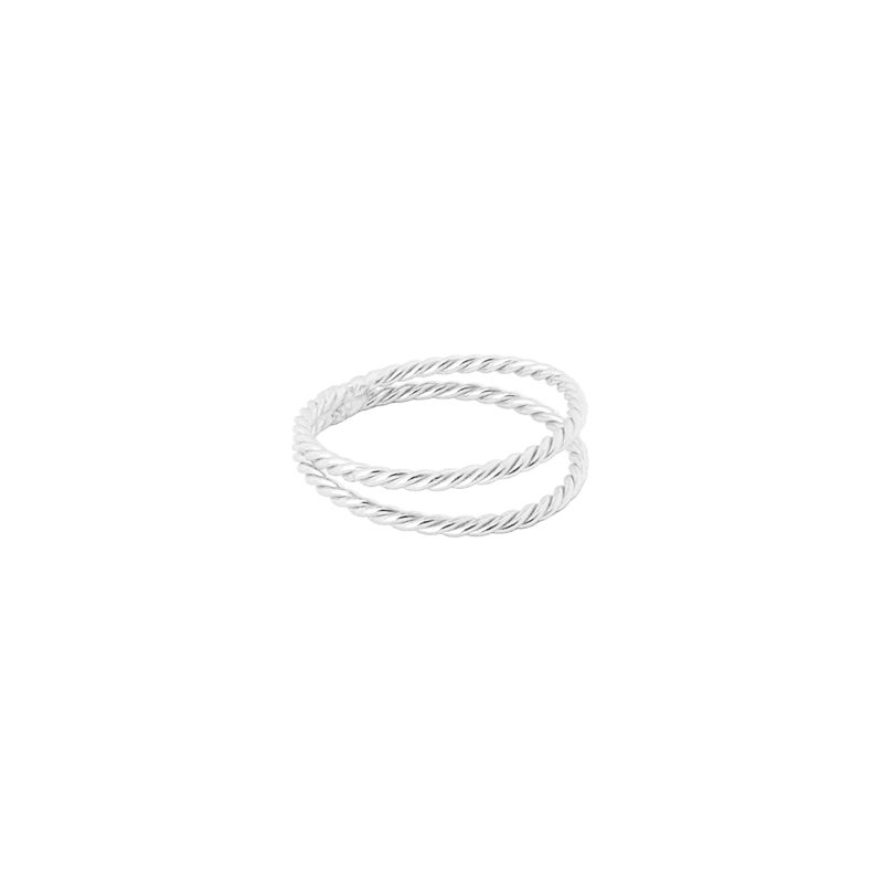anillo twist doble plata