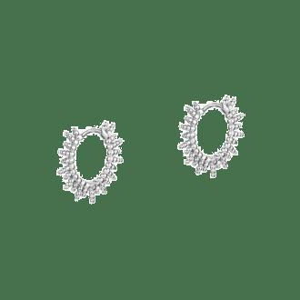 Pendientes de aro de bolitas en plata inspirados en el sol