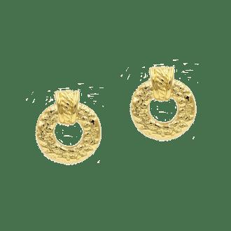 Pendientes de aro ancho dorados para fiesta