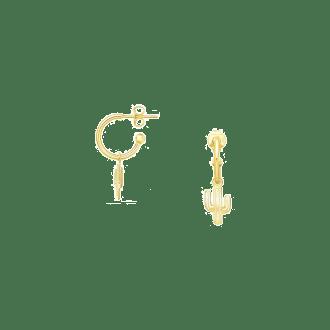 Pendientes de aro con colgante cactus con baño de oro