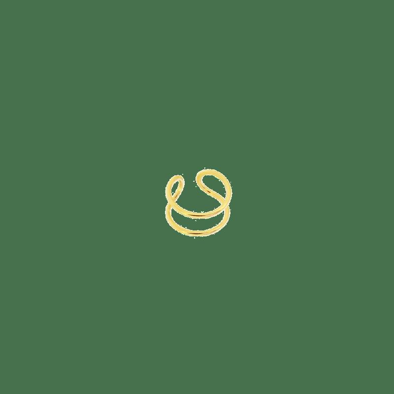 Piercing falso para el cartílago con dos aros finos en plata dorada