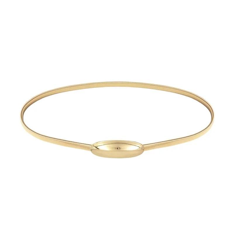 bf882cd49 cinturón dorado para fiesta con cierre ovalado decorativo brillante