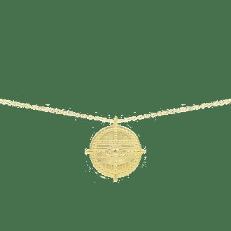 Collar con medalla en plata de ley dorada estilo tribal