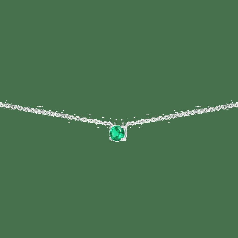 Collar con circonita verde esmeralda en plata de ley