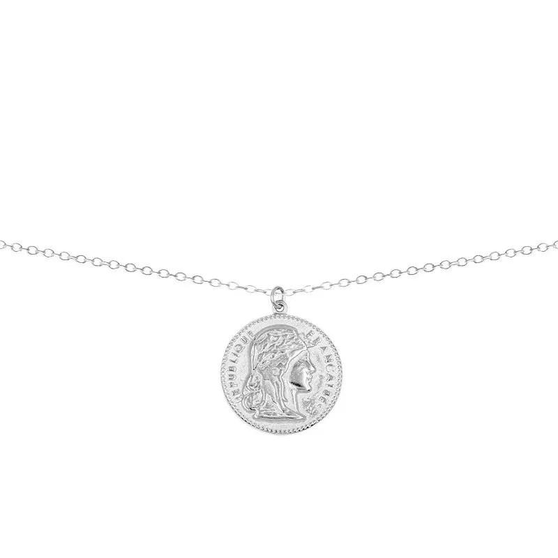 Collar con colgante moneda francesa en plata de ley