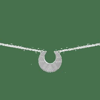 Collar con colgante luna invertida decorada con motivos étnicos
