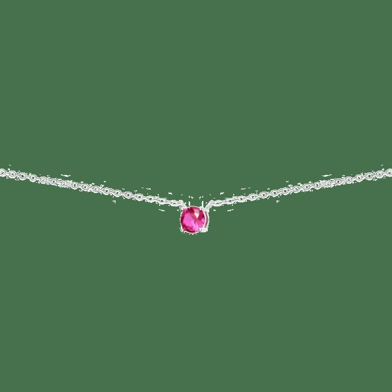 Collar con circonita rosa rubí en plata de ley