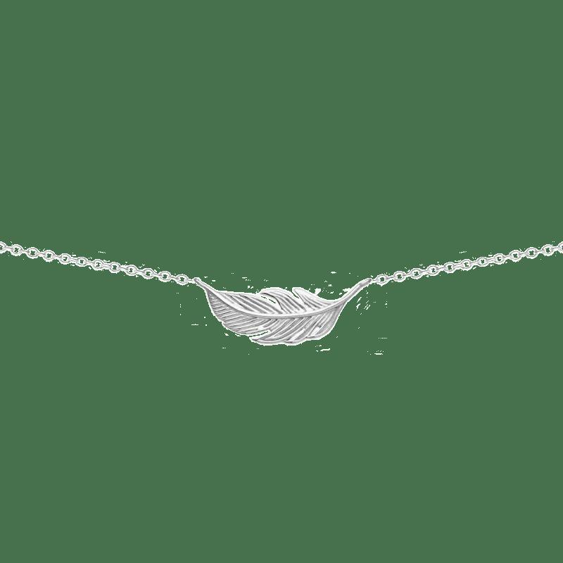 Collar colgante en forma de pluma tumbada en plata de ley