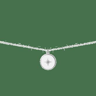 Collar de plata con colgante redondo karma esmaltado en color blanco