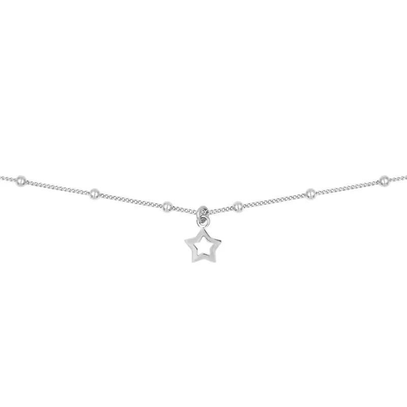 Collar de bolitas de 2mm con colgante estrella abierto en plata