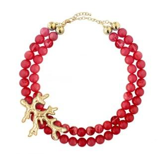 collar de bolas rojas y coral dorado