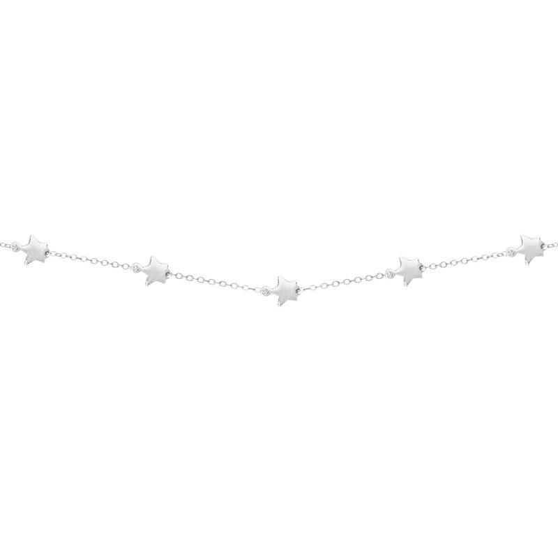 Collar mini estrellas en plata de ley decorado en todo el perímetro