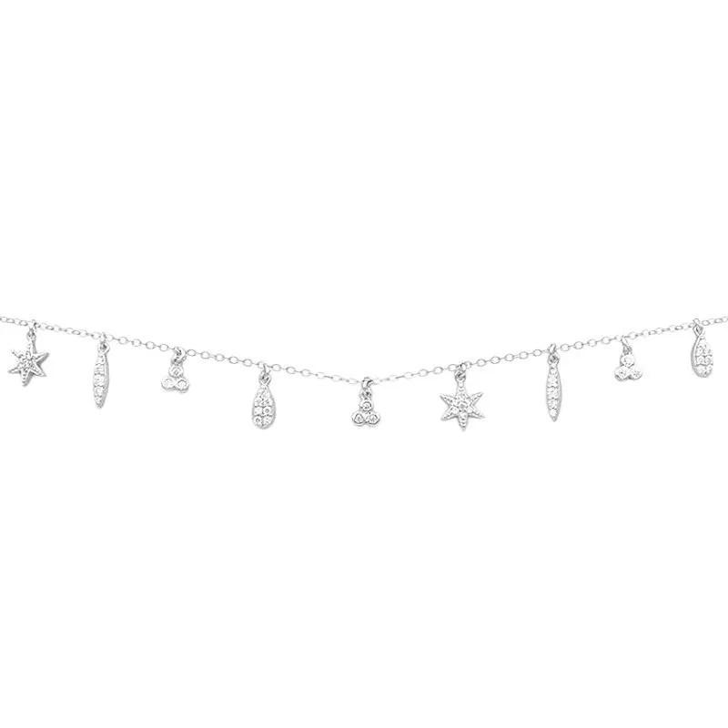 Collar de plata con nueve charms en plata de ley