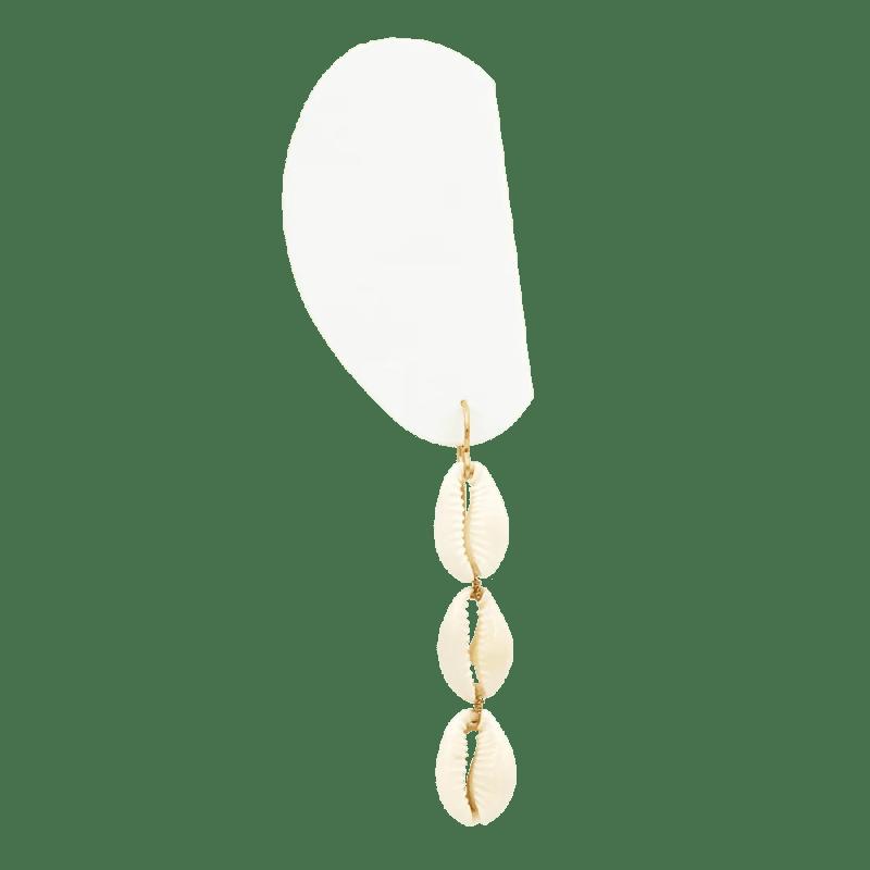 Pendientes largos de tres conchas