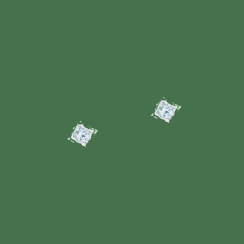 Pendientes pequeños de circonitas azul bebe en plata de ley
