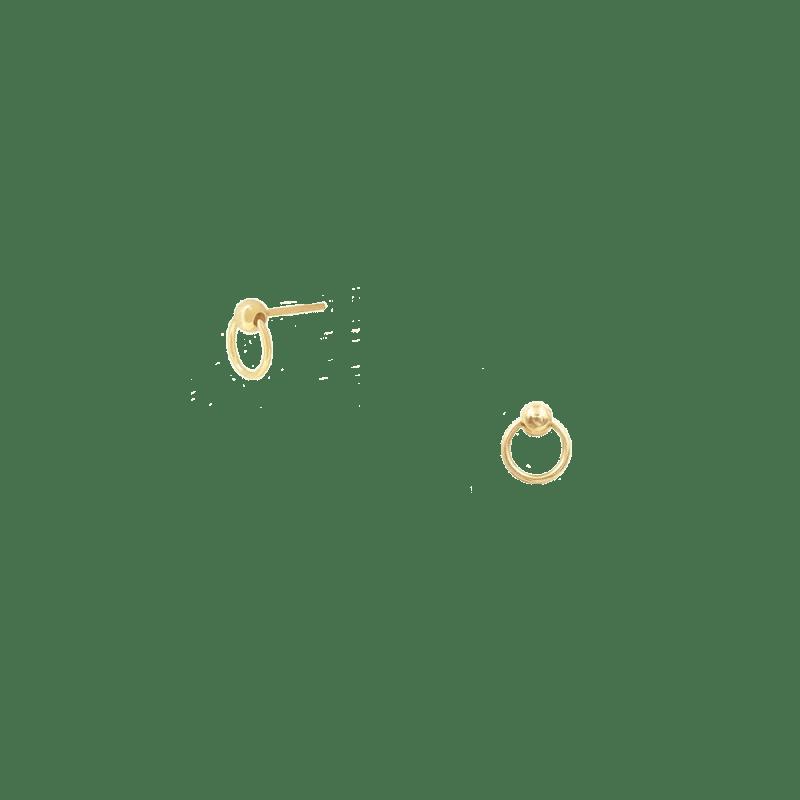 Pendientes mini aro con bolita en plata dorada