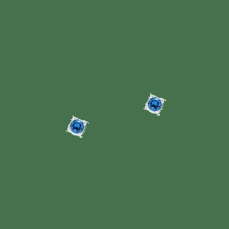 Pendientes azules de 3mm en plata de ley