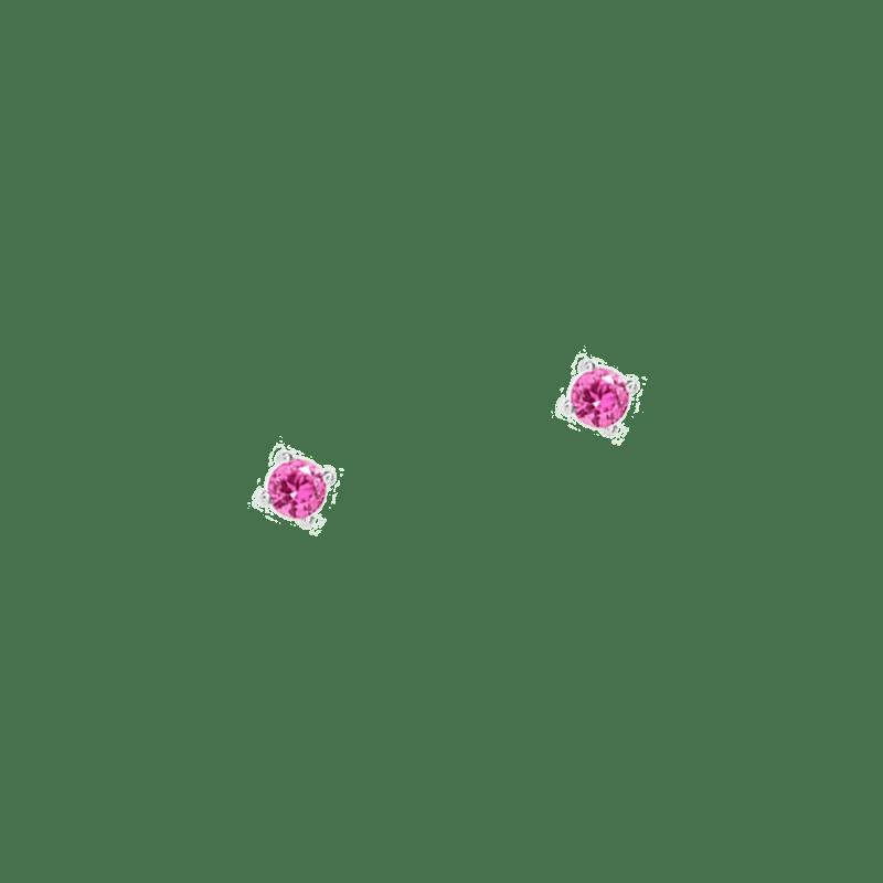 Pendientes de cristal rosa en plata de ley de 3mm