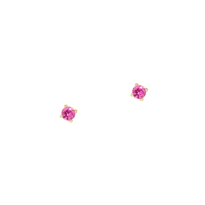 Pendientes de 3mm en color rosa rubí