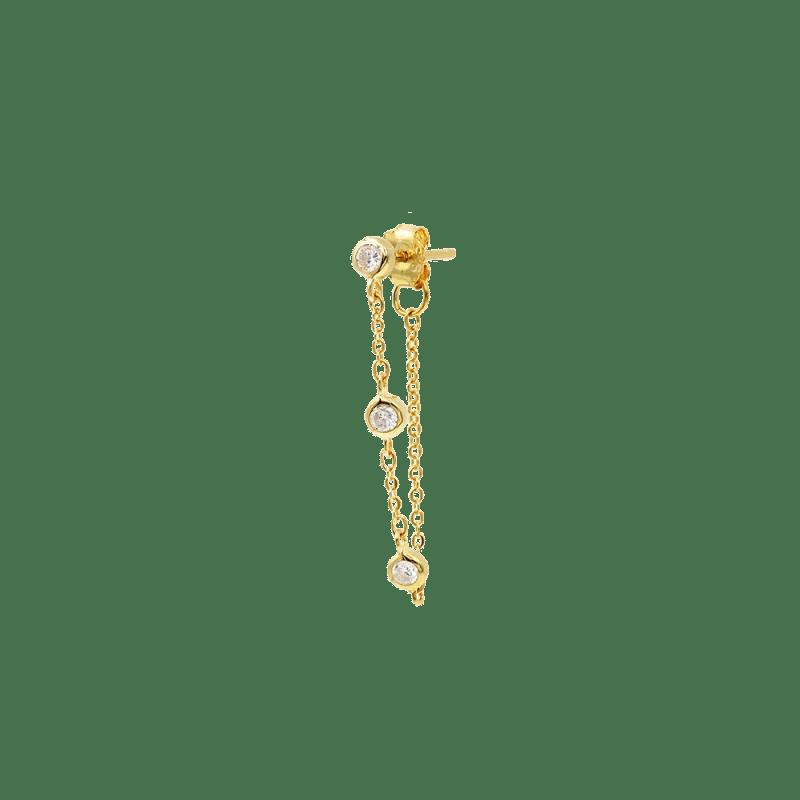 pendiente de cadena con tres cristales cz con montura