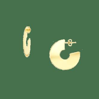 Pendientes de aro ancho en forma de disco en dorado