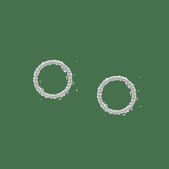 Pendientes de aro frontal en plata decorados con bolitas