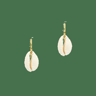pendientes de gancho dorados con concha natural