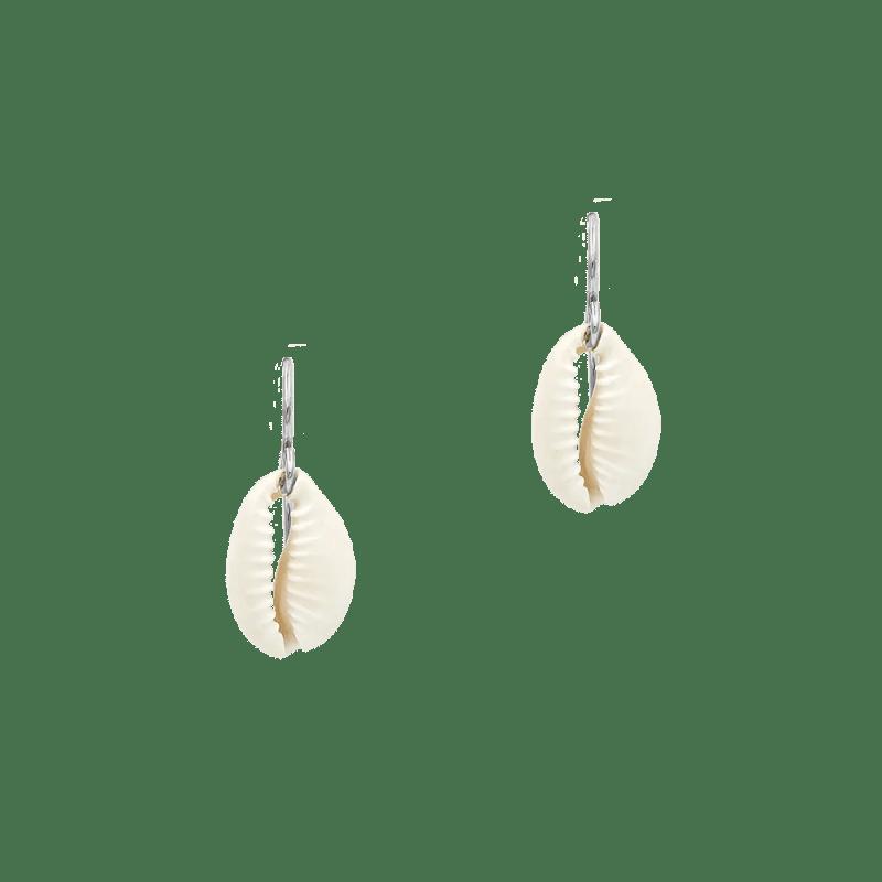 pendientes de concha en plata con cierre estilo gancho
