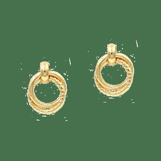 Pendientes de aros dobles enlazados en dorado