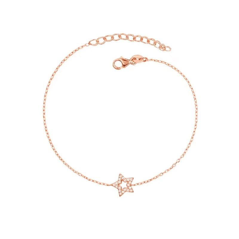 Pulsera de estrella con circonitas en oro rosa