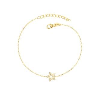 Pulsera de estrella con circonitas en baño de oro 18kt