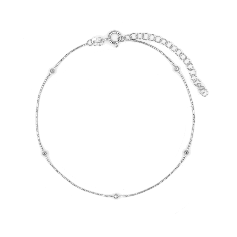 Tobillera fina de estilo minimalista en plata de ley