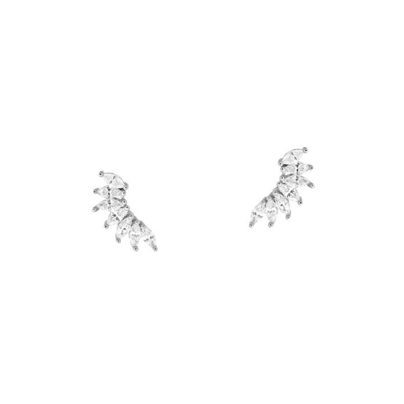 Pendientes de hojitas con cristales de estilo trepador en plata de ley