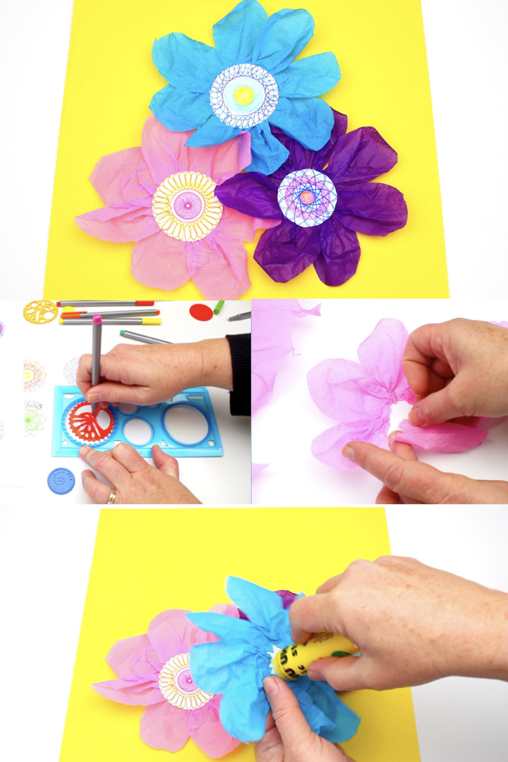 The kids love making lots of different cool spiral pictures with the Spirograph kit we got a while ago. We decided to cut out the spiral pictures and turn them into these pretty tissue paper flowers.