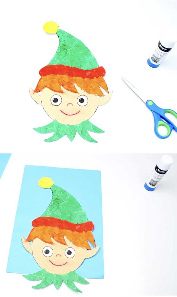 Make this cute elf mosaic by tearing up multi-coloured pieces of paper and gluing them onto the elf picture. I have included a free template for you to download and this step-by-step video shows how we made the elf mosaic. #christmascrafts #mosaic #papercrafts #kidscrafts