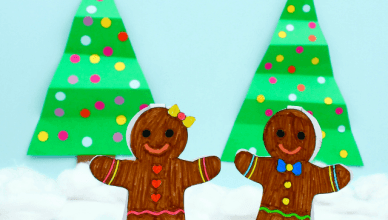 Gingerbread Puppets (Free PDF Printable Paper Toy)
