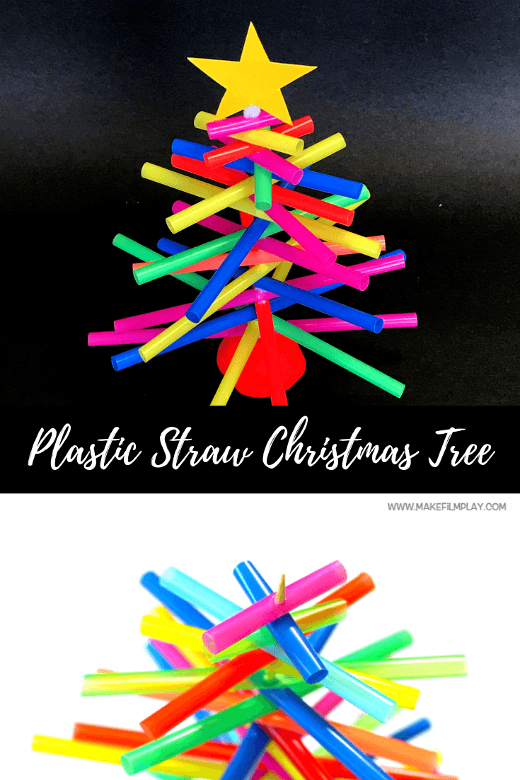To make this very simple Christmas tree, all you need are bright-coloured plastic straws, a wooden skewer, Play-Doh, and a toilet roll. #kidscrafts #christmas #Cristmascrafts