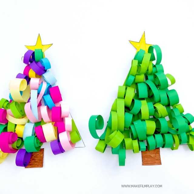 Make this sweet paper Christmas tree for your next Christmas craft project. All you need is our free printable template, strips of paper, and glue. It is that simple! #kidscrafts #christmas #christmastree #christmascrafts #papercrafts