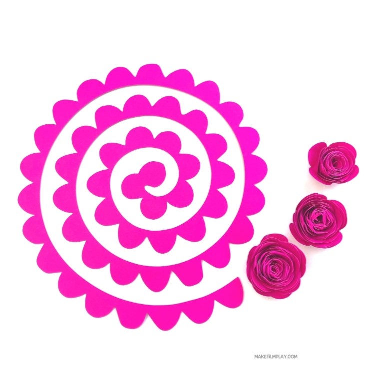 These roses are so easy to make and they look great as part of a bridal bouquet, as a party decoration, as a gift for Valentine's Day, or even as a sweet Mother's Day gift. In this video tutorial, I have also included the spiral template. #papercrafts #spiralrose, #spiralflower, #paperflower, #cricut #cricutflower, #papertemplate, #freedownload, #svgfile,