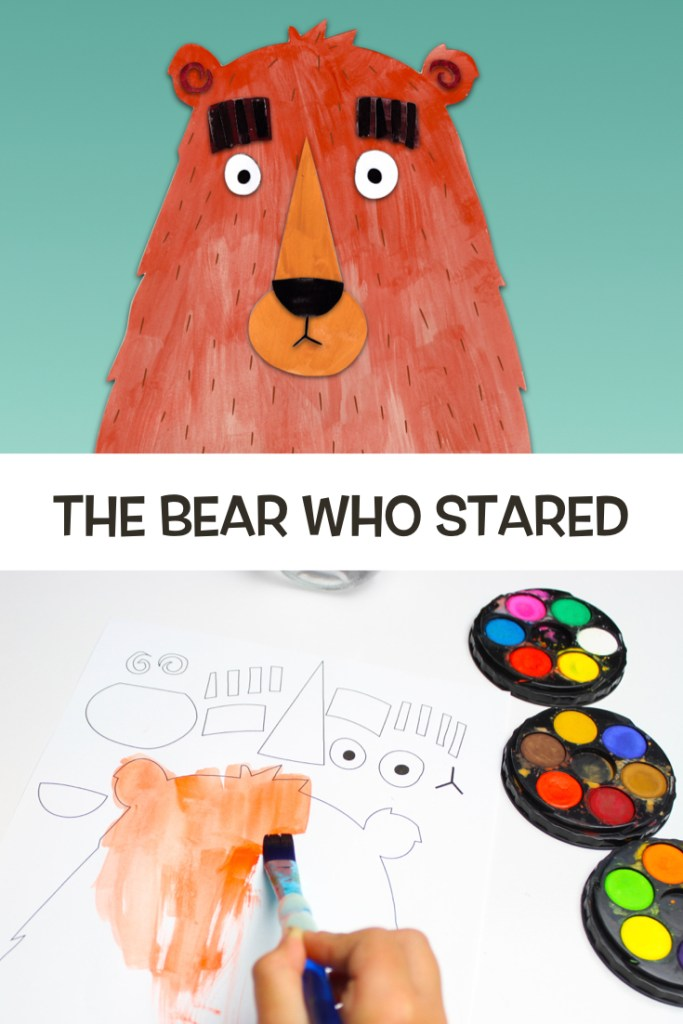 We made a small stop-motion of The Bear Who Stared using painted cutout pieces of paper that eventually form the bear character. You can also download the printable so the kids can colour and cut out the shapes to make the paper bear character themselves. #kidscrafts #bookcrafts #kidsbooks